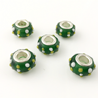 10 Lampwork Glass 14x9mm European Charm Beads DK Green